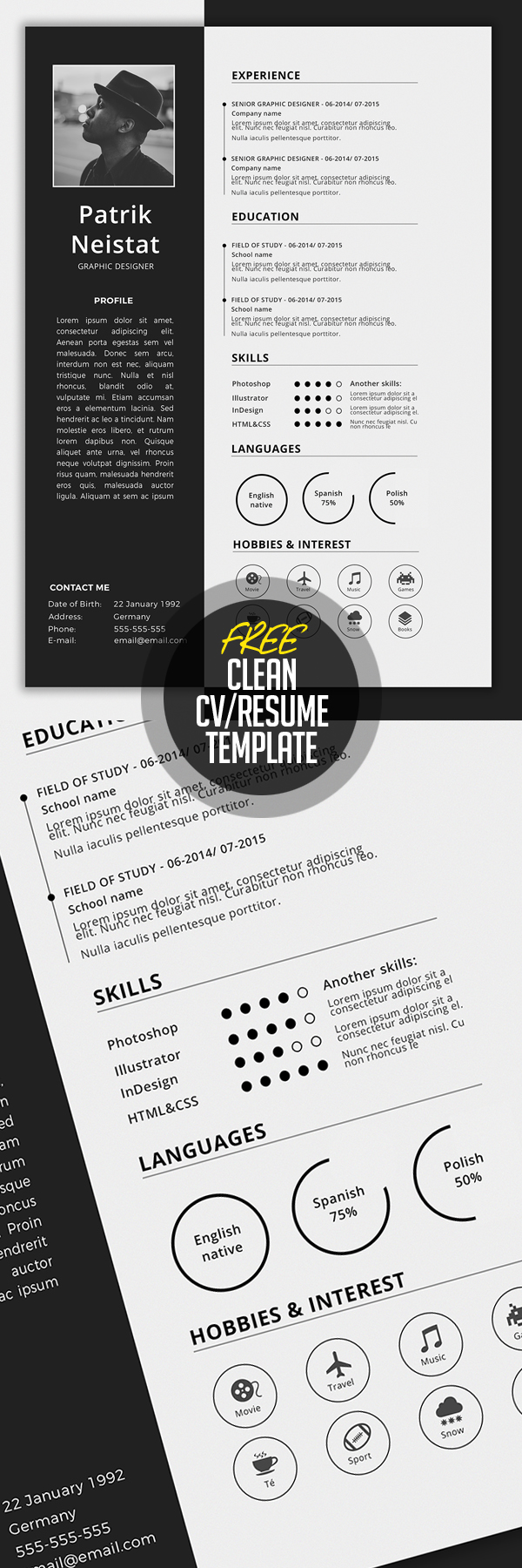 Simple CV/Resume Template Free Download  Creative Resume Template Free
