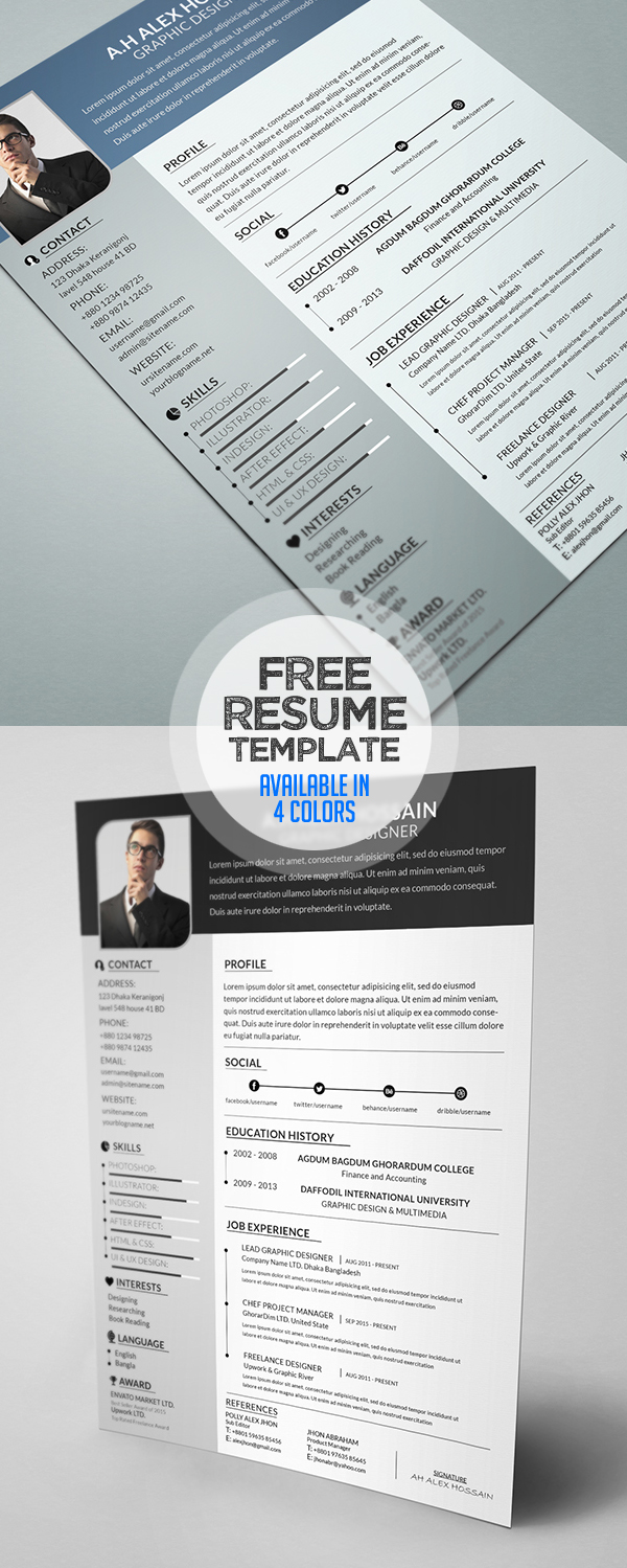 Free Resume Template (Available in 4 colors)
