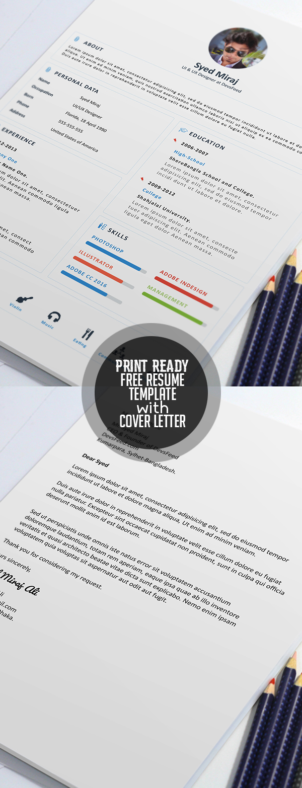 Free Print Ready Resume Template And Cover Letter  Free Resumes To Print