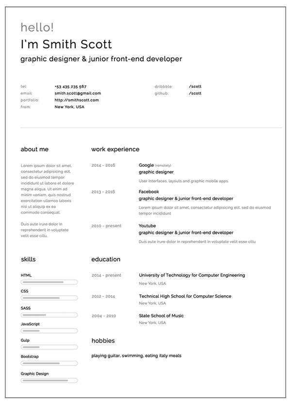 Nice Simple And Clearn Free Resume Template And Simple Graphic Design Resume