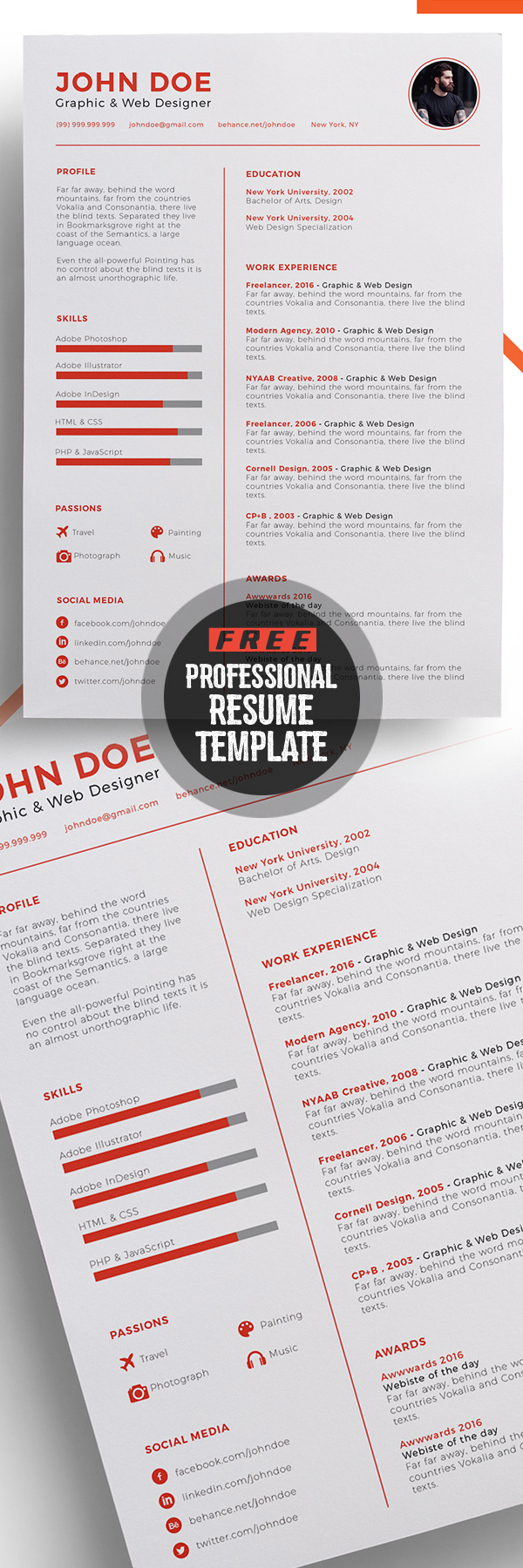 Professional Free Resume Template Design  Portfolio Word Template