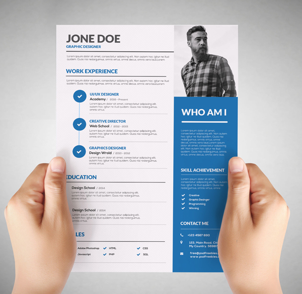 Free Resume Template For Graphic Designer  Creative Resume Templates Free