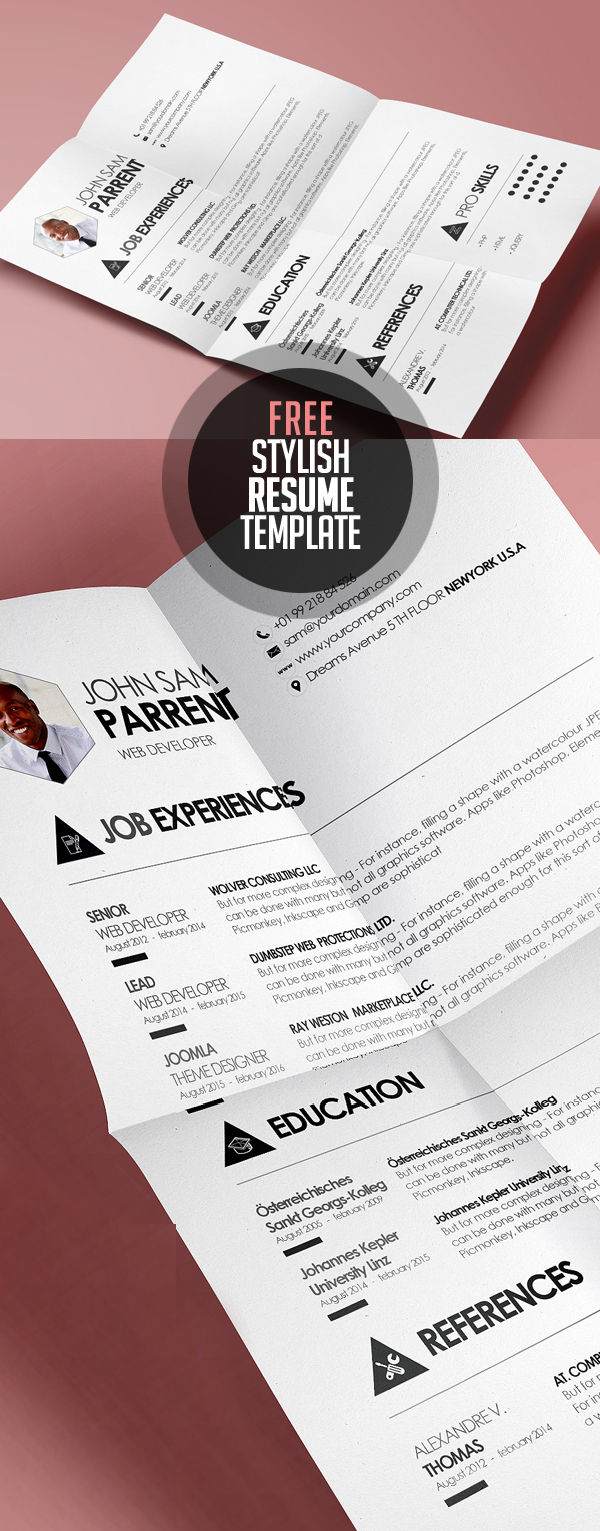 simple and stylish design cv resume template psd eps - Downloadable Resume Templates Free