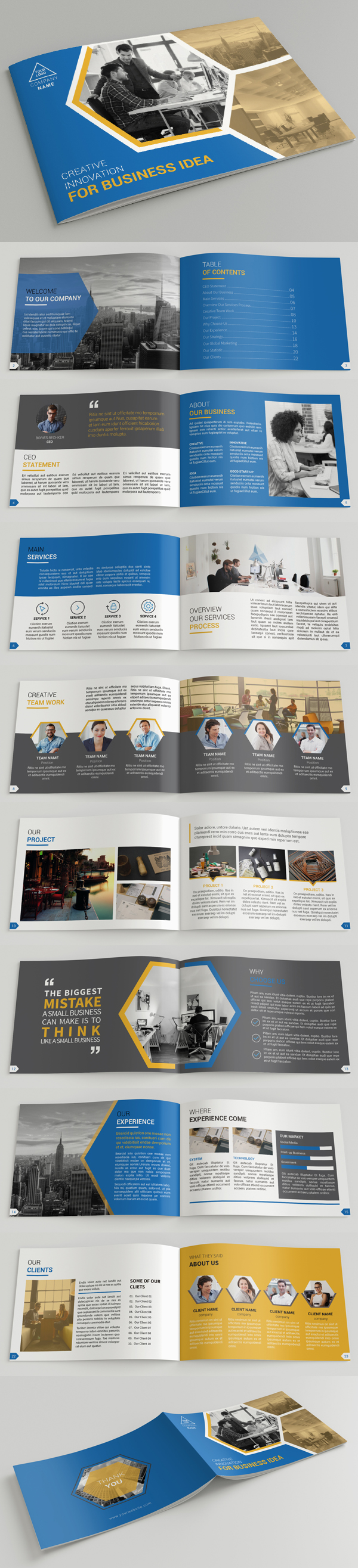 100 Professional Corporate Brochure Templates Design Graphic