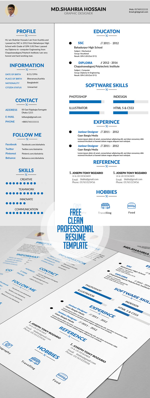 free clean proffesional resume design - Cv Resume Sample