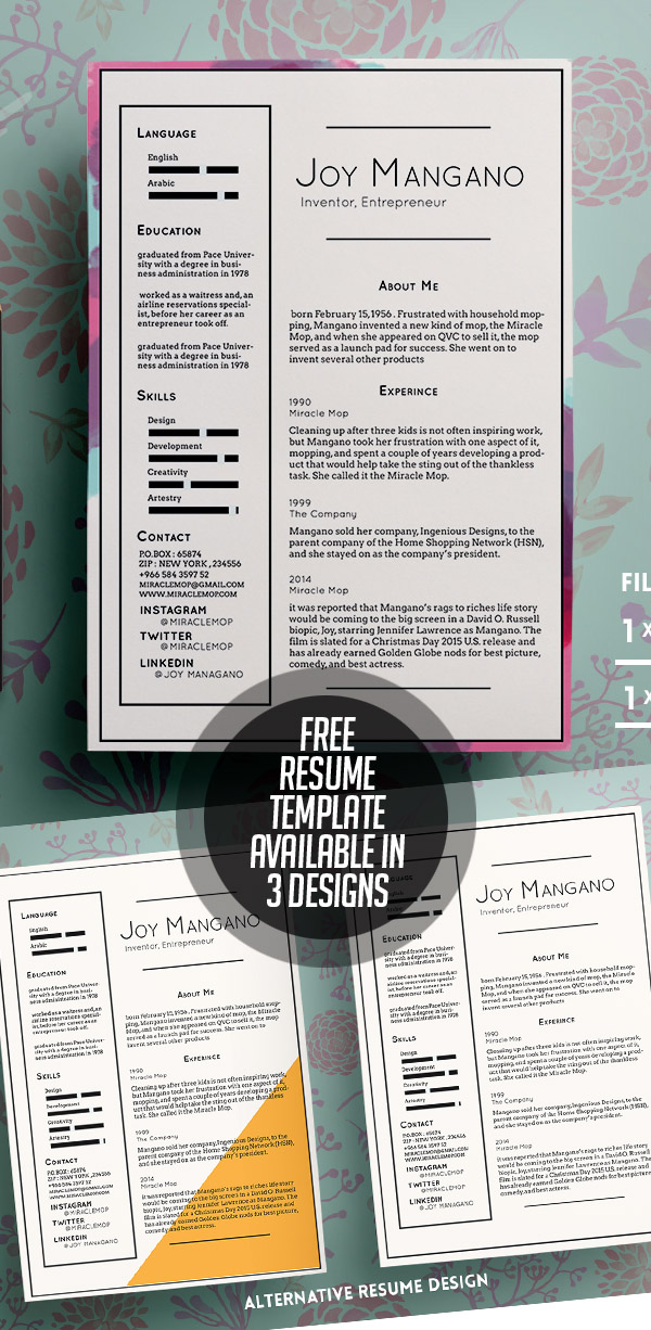 free resume templates available in 3 designs. Resume Example. Resume CV Cover Letter