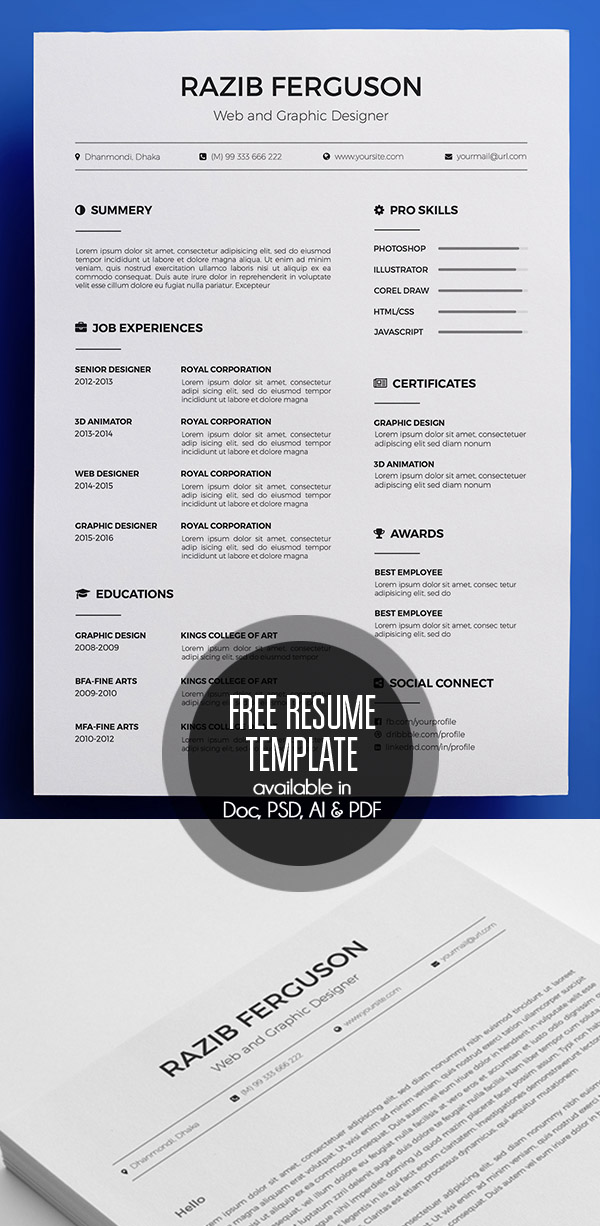 Sample Business Resumes Excel  Free Cv  Resume Templates   Freebies  Graphic Design  Sales Associate Skills Resume with Artistic Resume Free Resume Template Available In Doc Psd Ai  Pdf Sending A Resume By Email Word