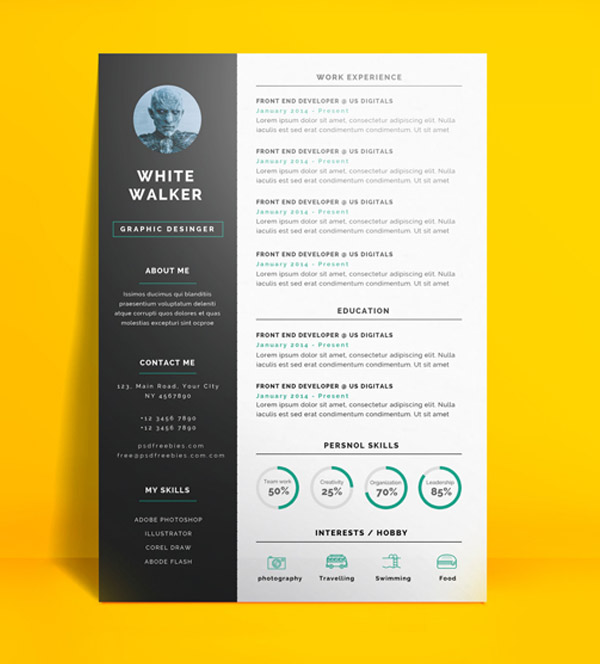 Perfect Freebie : Simple And Clean Resume CV Template PSD Images