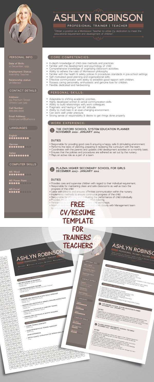 Houseman Resume  Free Cv  Resume Templates   Freebies  Graphic Design  Free Online Resume Writer Excel with Career Focus Resume Pdf Free Resume  Cv Design Template For Trainers  Teachers Patient Coordinator Resume Excel