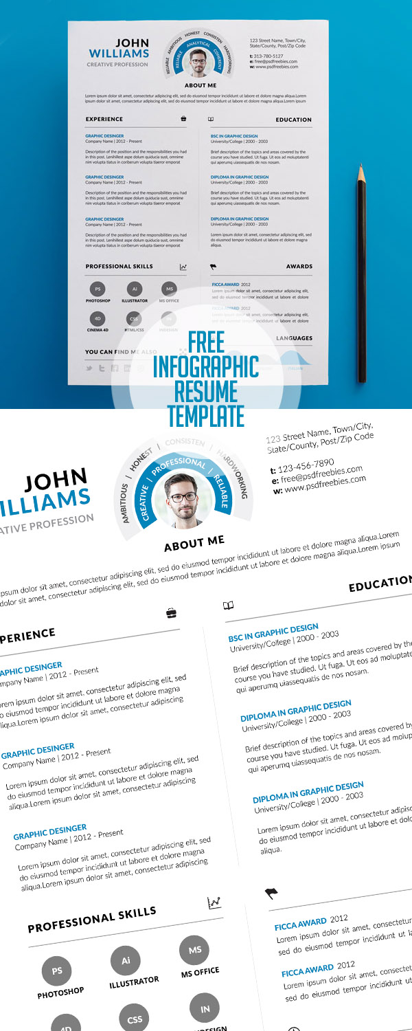 free clean and infographic resume psd template - Resume 2017