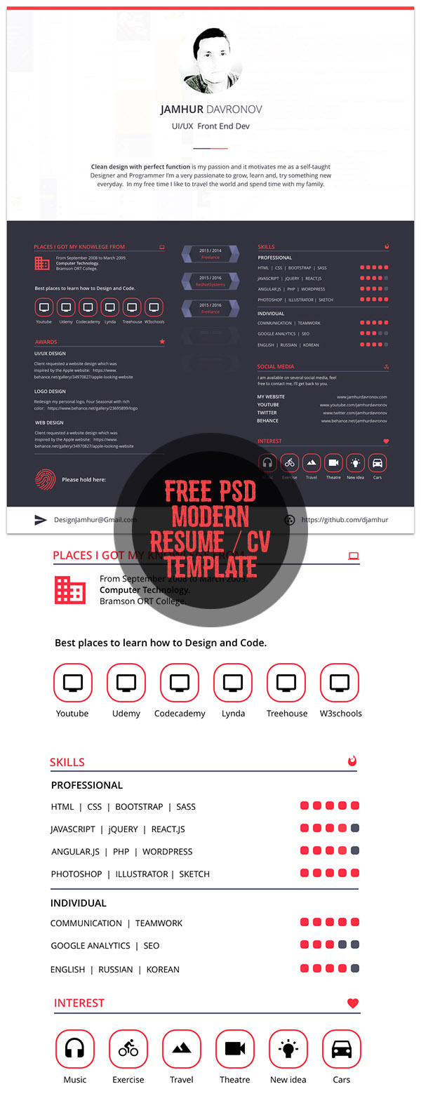 free modern free resume template - Free Resume Sites