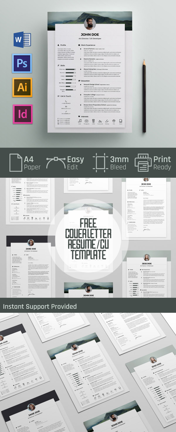 20 free cv resume templates 2017 freebies graphic design free cover letter and resume cv template pronofoot35fo Choice Image