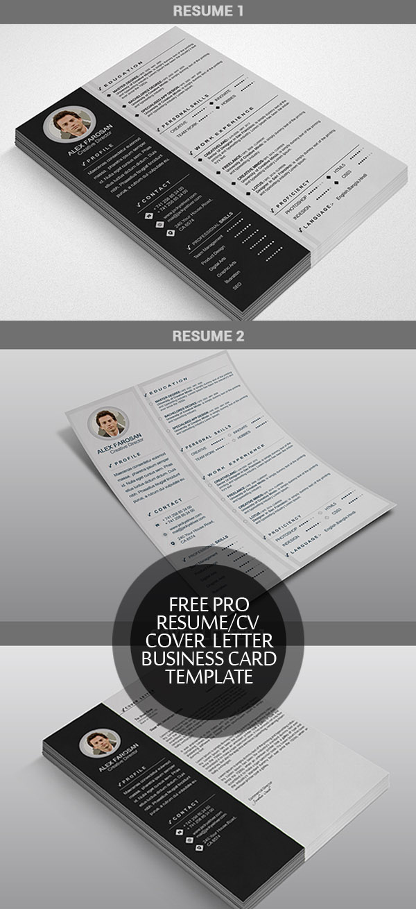 free resumecv cover letter business card template - Resume Template Cover Letter