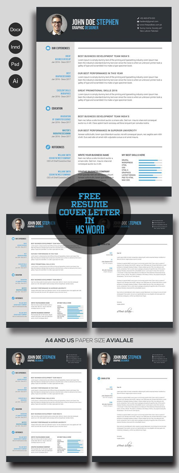 20 free cv resume templates 2017 freebies graphic design junction free resume cover letter in ms word flashek Image collections