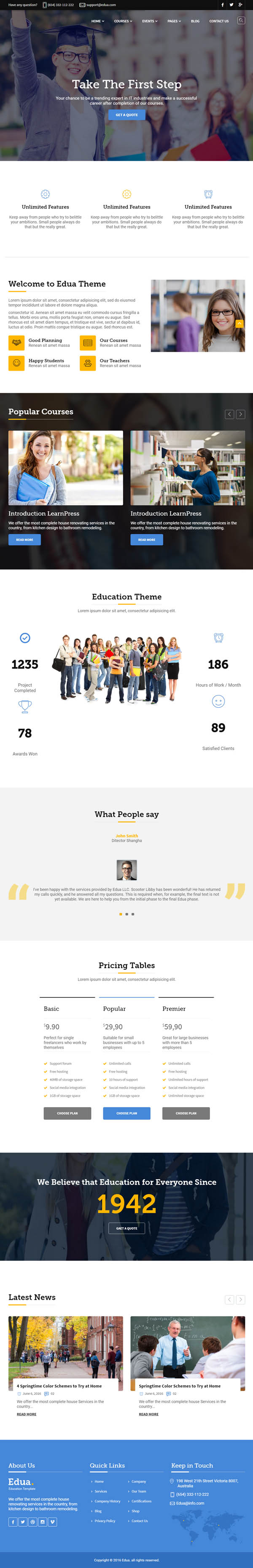 Edua - Educational HTML5 Template