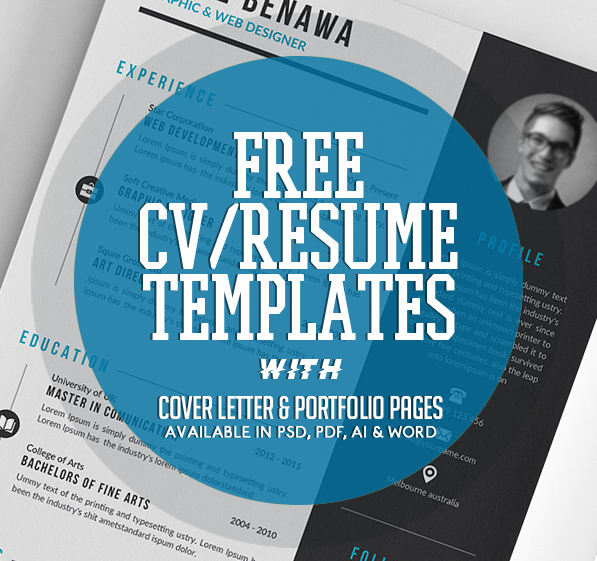 20 Free CV / Resume Templates 2017 With Cover Letter U0026 Portfolio Pages  Free Resume And Cover Letter Templates