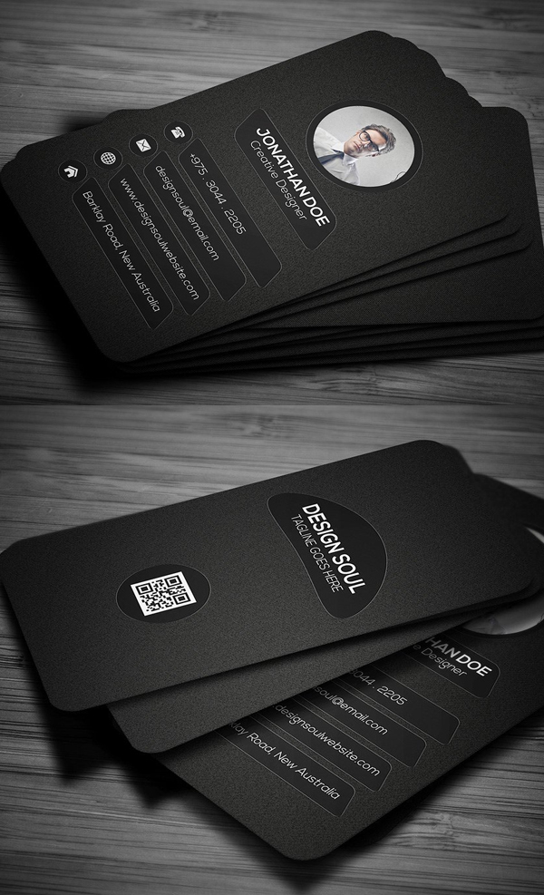 Dark Rounded Corner Business Card Design