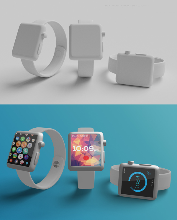 Free Basic Apple Watch Mockup 3in1