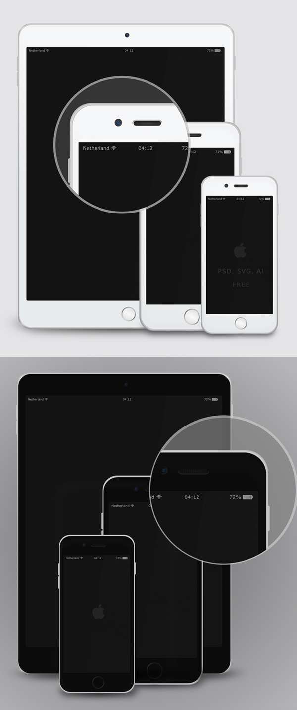 Free Vector Mockup - iPad &iPhone 6 - White & Black
