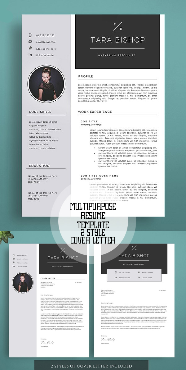 resume+template+10 Template Cover Letter Design Free Black Professional Resume Fondul on