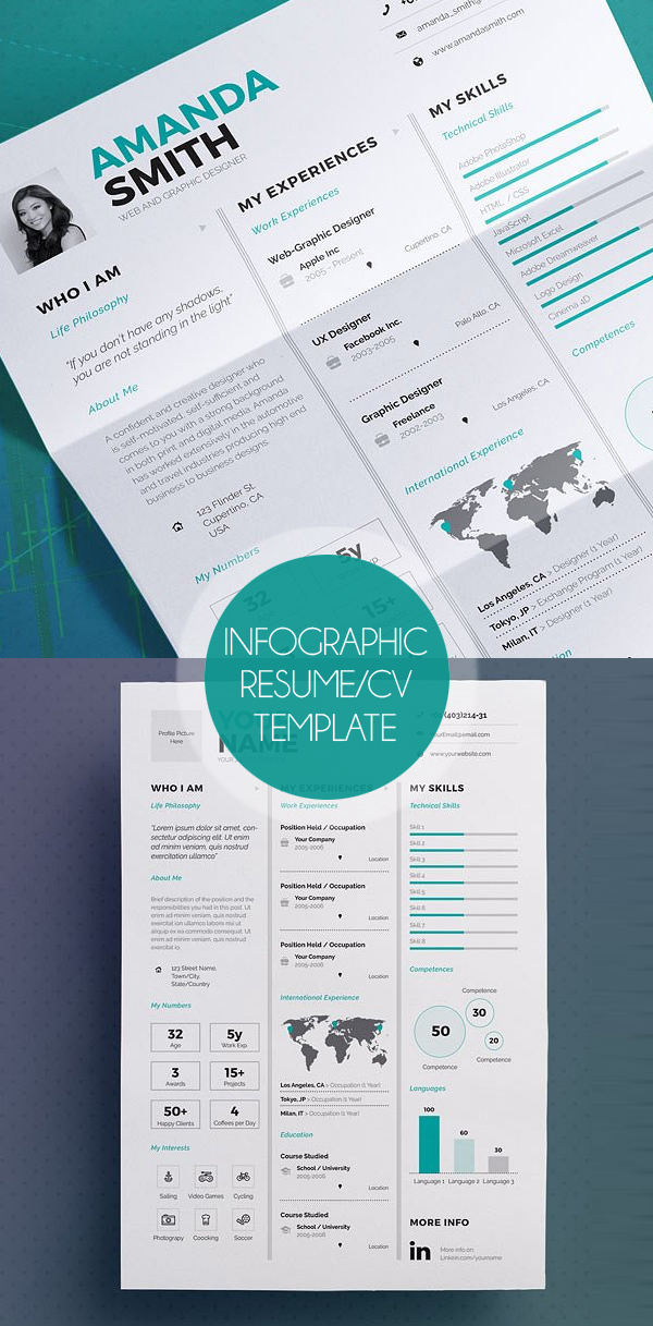 New Professional Cv / Resume Templates With Cover Letter | Design