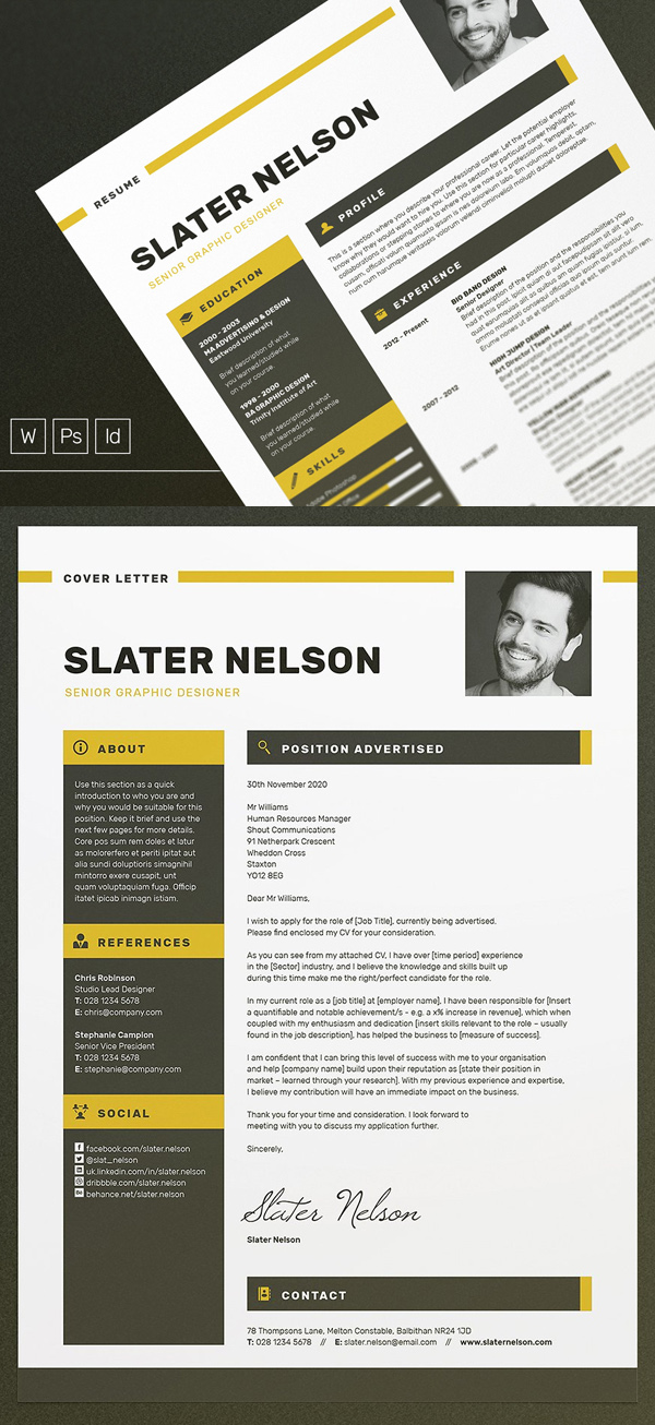 A4 U0026 US Letter Resume / CV Template  Template For Cover Letter For Resume
