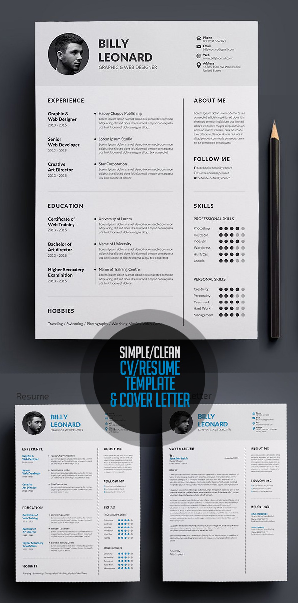 Clean and Simple CV/Resume Cover Letter Template
