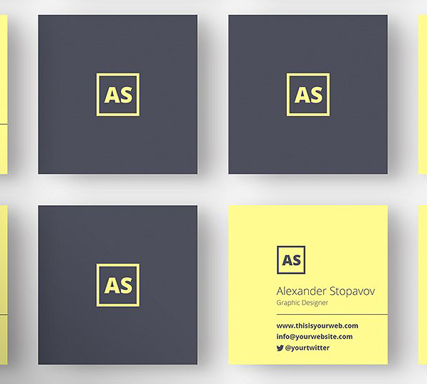 mini square business card psd templates