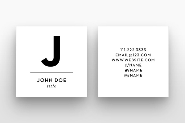 Mini square business card psd templates design graphic design square small initial business card template reheart Choice Image