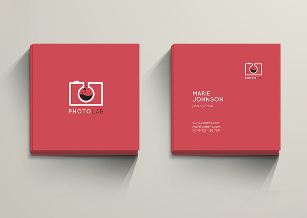 Mini square business card psd templates design graphic design creative mini photolab business card colourmoves