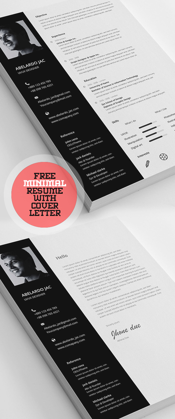 Minimal Free Resume Template with Cover Letter