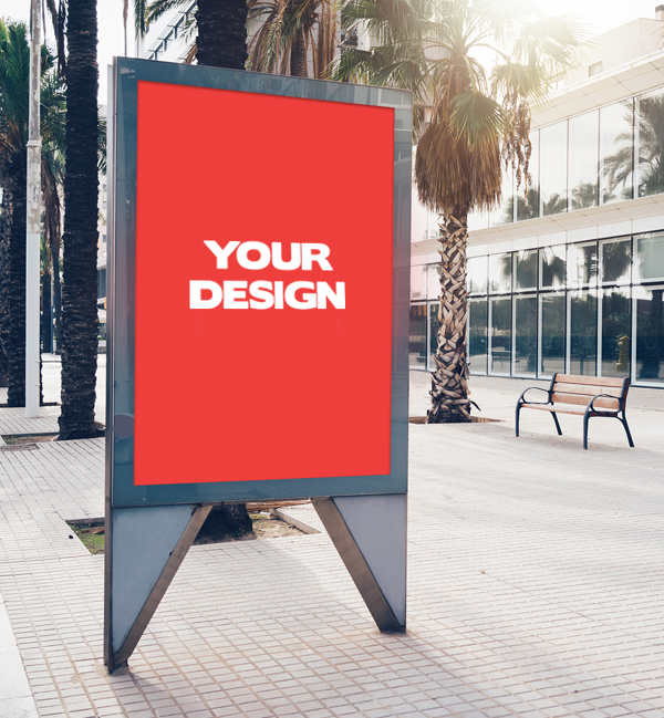 Free Street Display Billboard Mock-up