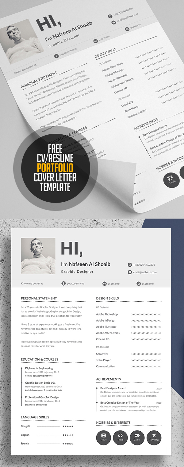 Free Resume/CV, Portfolio and Cover Letter Template