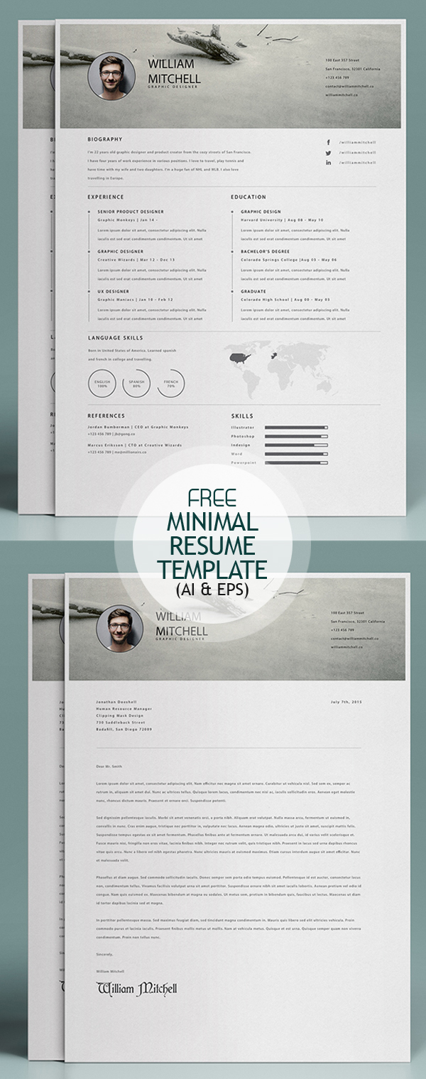 Free Minimal Resume Template (Ai and EPS)