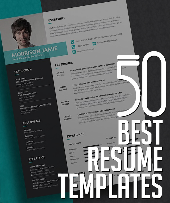 50 best cv resume templates with cover letter - Resume Templates For Designers