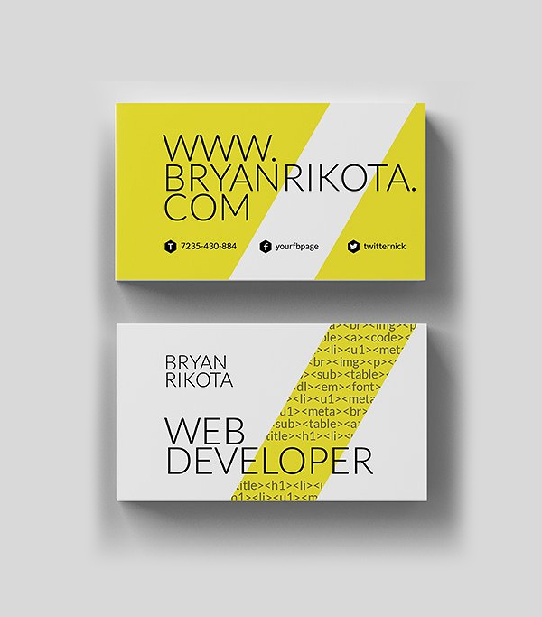 Web Developer Business Card Design