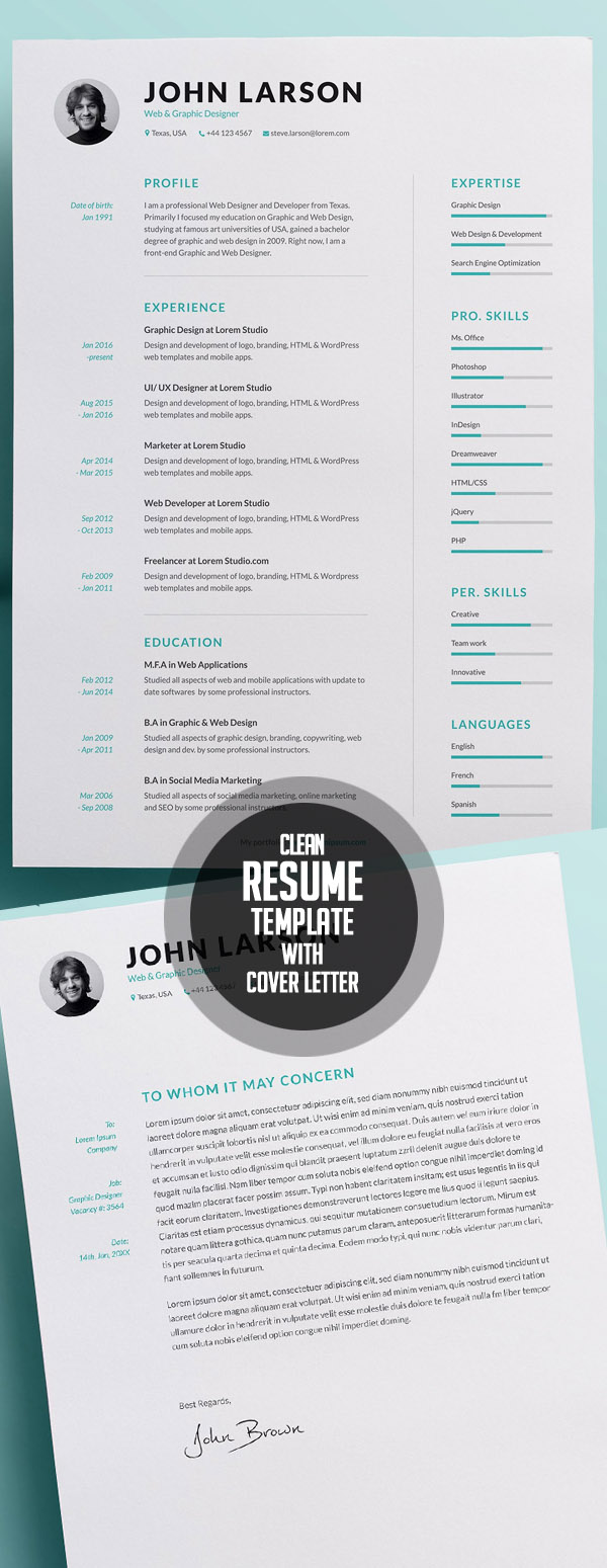 50 Best Minimal Resume Templates   4  Clean Resume Templates
