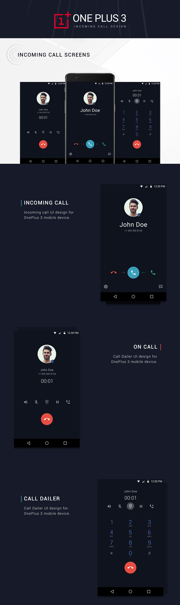 Free ONEPLUS Incoming Call UI Design PSD Template