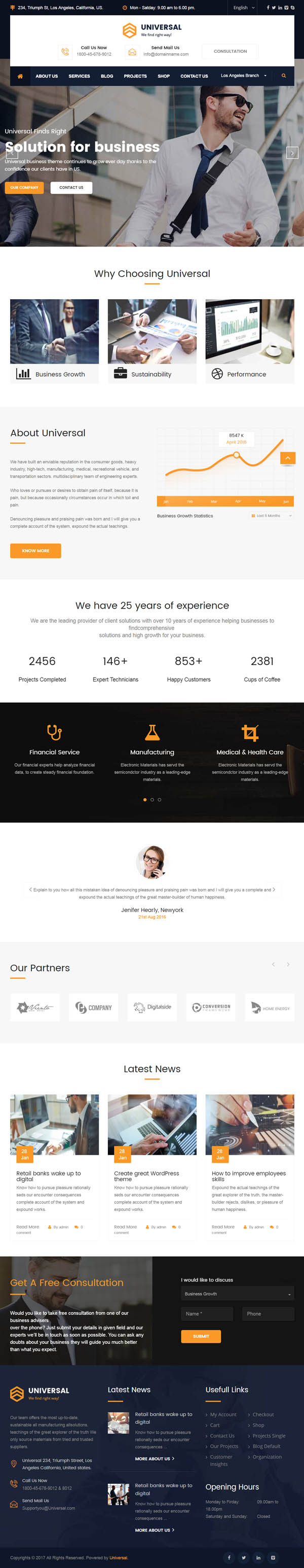 Universal : Business Consulting and Professional Services WordPress Theme