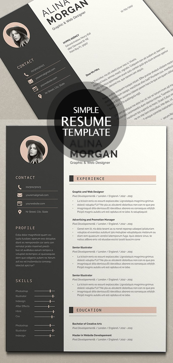 New Clean Resume Templates With Cover Letter  Design  Graphic