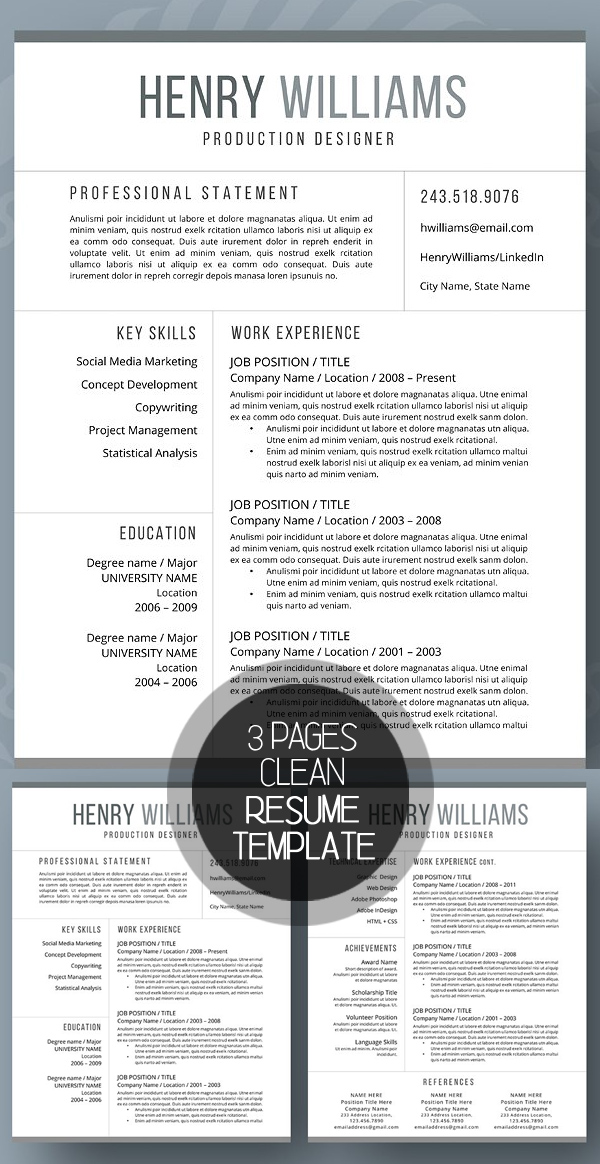 New Clean Resume Templates With Cover Letter | Design | Graphic