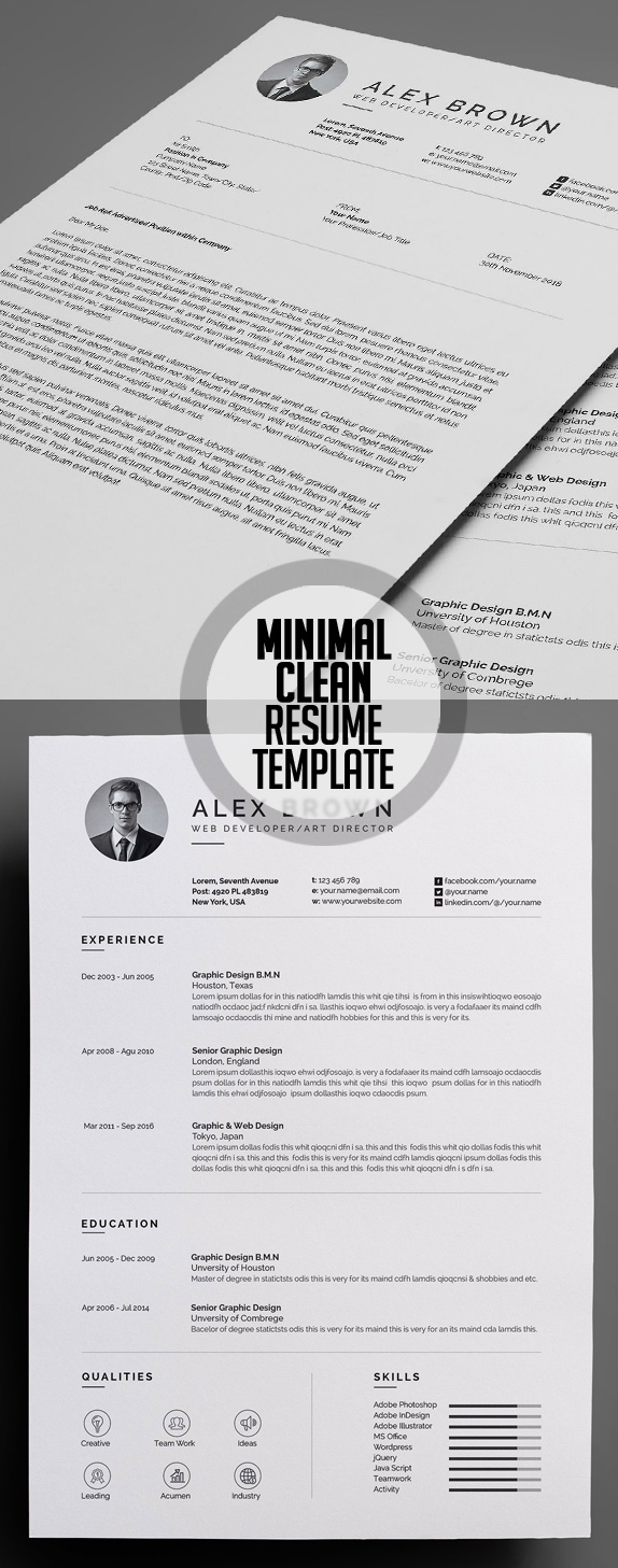 Minimal and Clean Resume Template