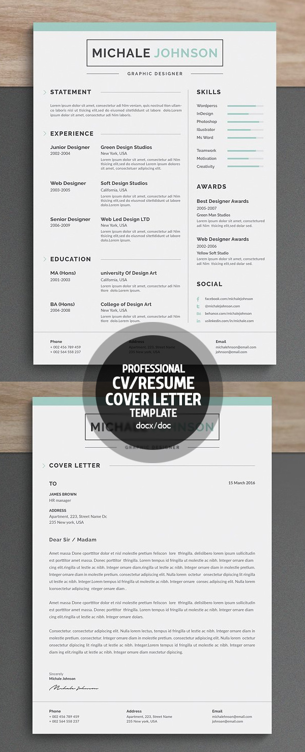 New Clean Resume Templates with Cover Letter | Design | Graphic ...