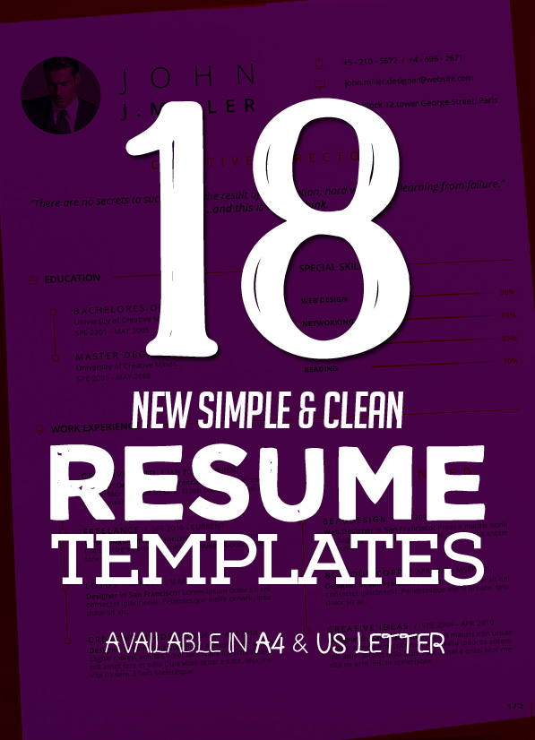 New Clean Resume Templates with Cover Letter | Design ...