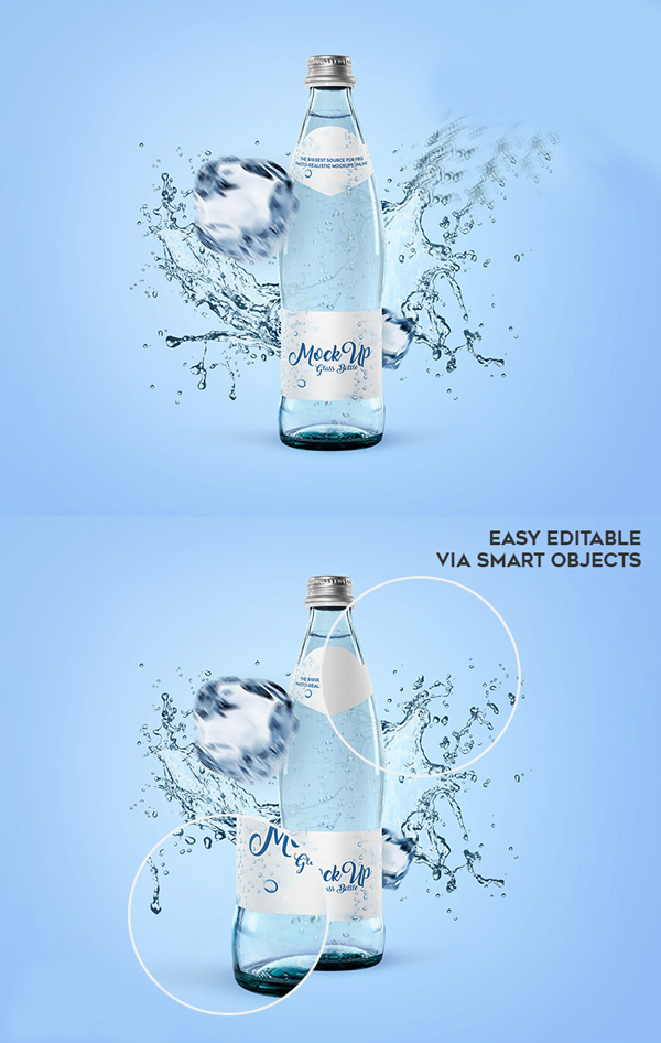 Free Glass Water Bottle Mockup Template