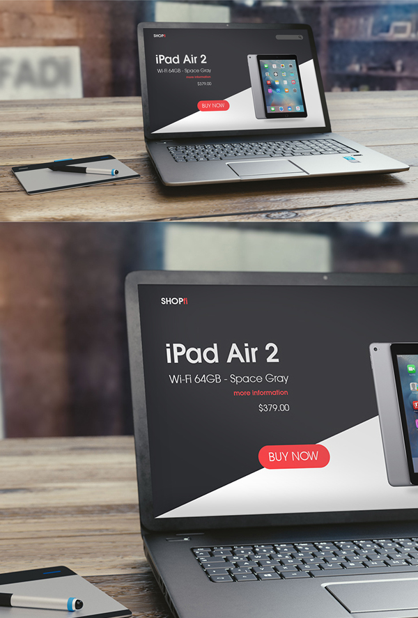 Free High-Res Laptop on Table PSD Mockup