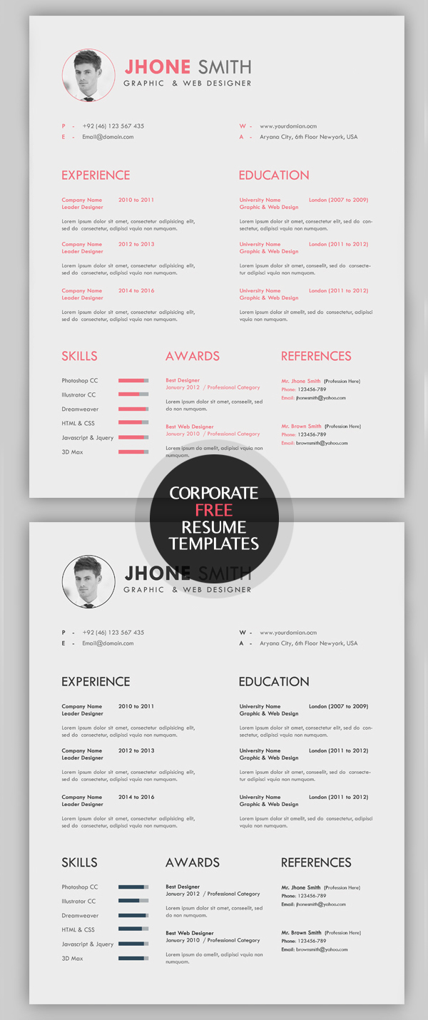 Free Resume/CV Template  Creative Resume Templates Free Download