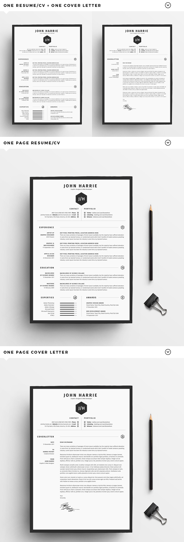 Free Resume/CV + Cover Letter  Cover Page For Resume Template