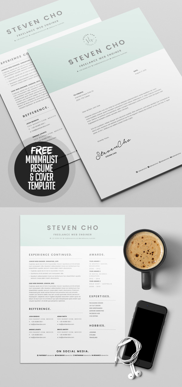 Free Minimalist Resume Template And Cover Letter  Cover Letter And Resume Template