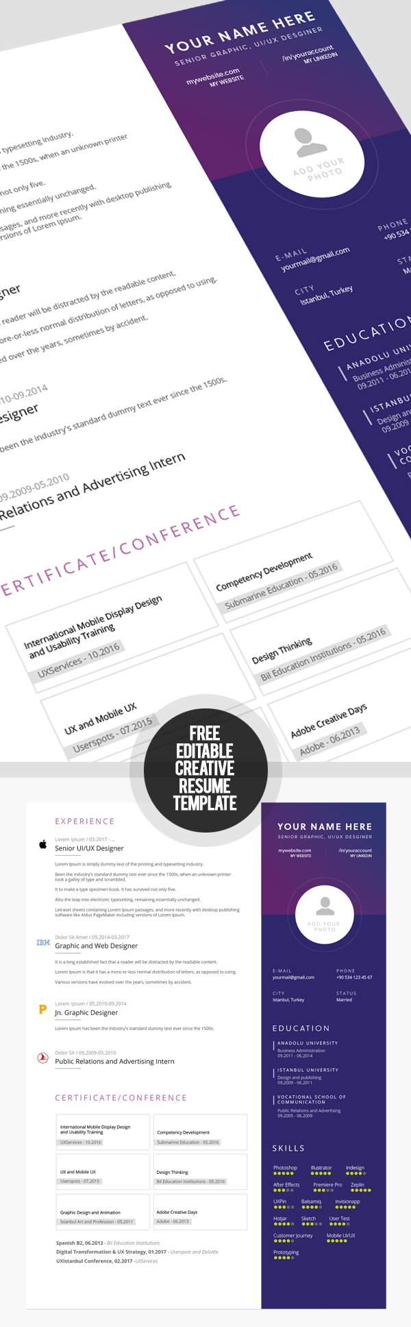 Free Fully Editable Creative Resume Template  Creative Resume Template Free